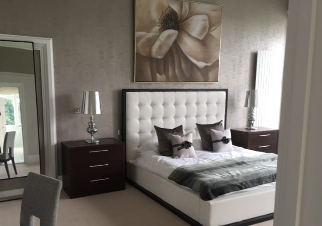 Grade II Listed building conversion to apartments - master bedroom.