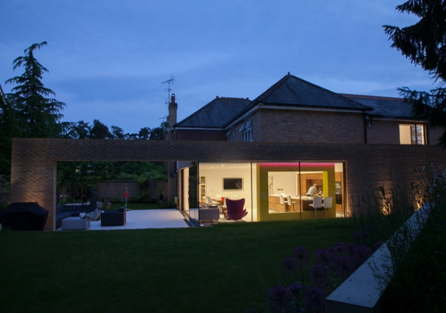 Exterior view of residential property extended to create a beautiful family home in Harpenden, Hertfordshire.
