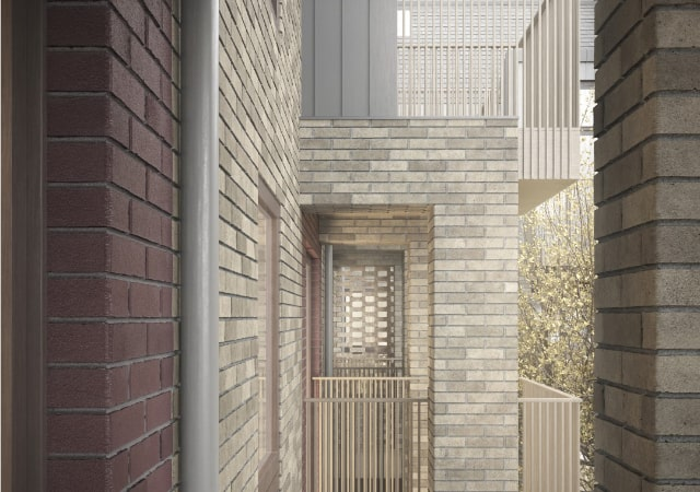 Ossulton Court - Social Housing - Some exterior design elements.