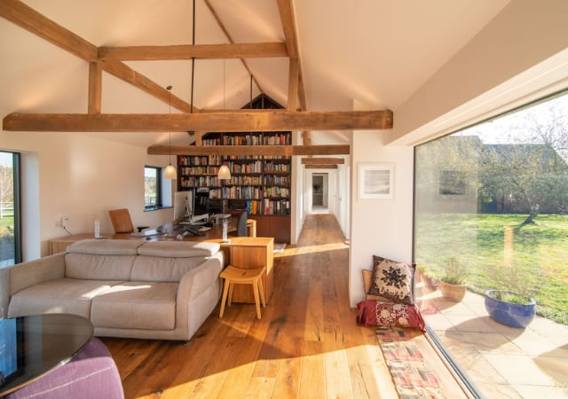 Interior view of barn version project completed in the village of Maulden, Bedfordshire