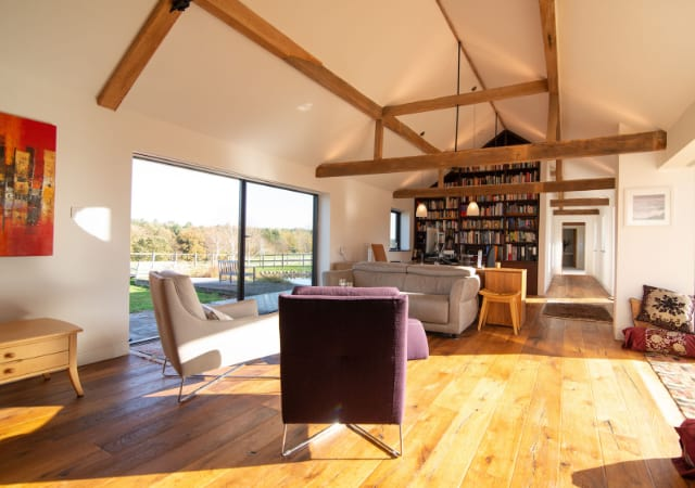 Interior view of barn version project completed in the village of Maulden, Bedfordshire.