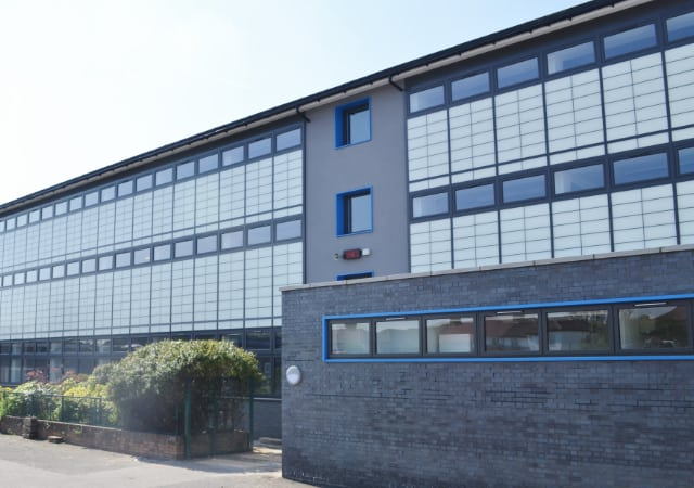 Featherstone High School, London showing external works completed.