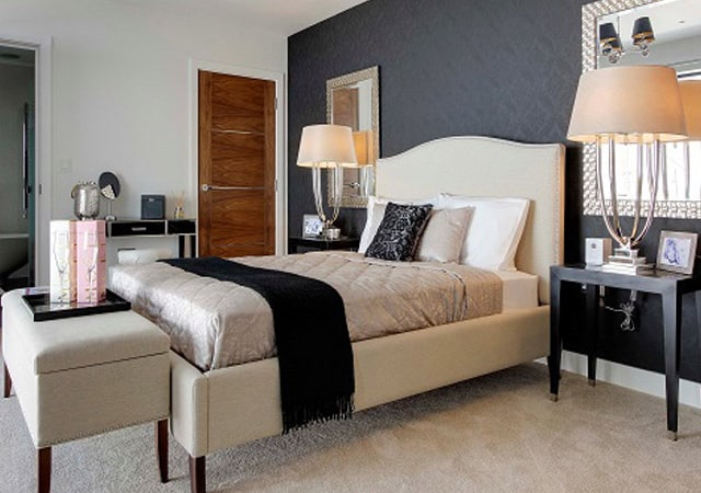 Master bedroom of luxury residential property in Bushey, Hertfordshire.